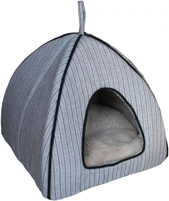 Lazy Bones Striped Igloo Cat bed