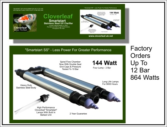 Cloverleaf Smart Start Stainless Steel UV 144 watt Clarifier
